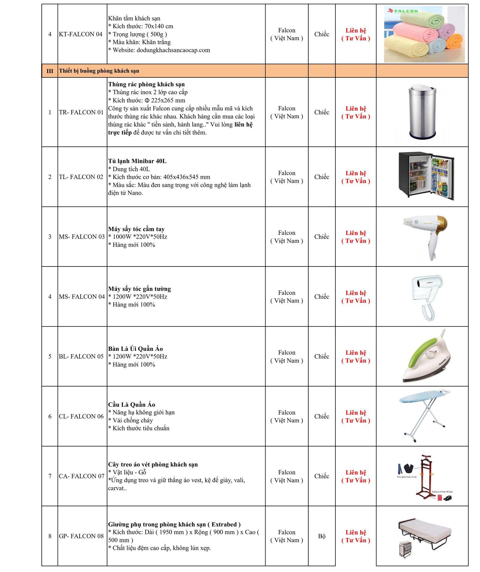 Bảng báo giá thiết bị đồ dùng khách sạn nhà nghỉ cao cấp Falcon